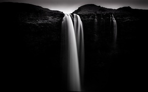 long exposure, rocks, nature, waterfall, monochrome