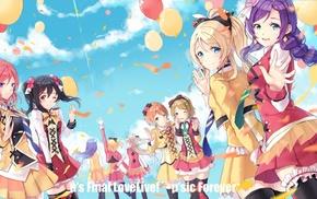 Love Live, Koizumi Hanayo, dress, Sonoda Umi, wink, sky