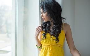 Shery Vi, window, long hair, curly hair, black hair, bare shoulders