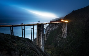 mist, lights, bridge, long exposure, landscape, sea