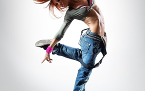 girl, simple background, jumping, dancing, jeans, long hair