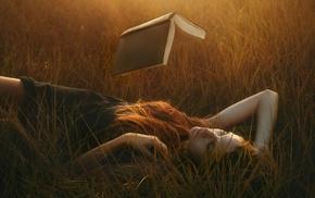 field, magic, black dress, nature, redhead, sunlight