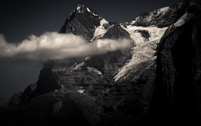 snowy peak, monochrome, clouds, mountains, summit, Swiss Alps