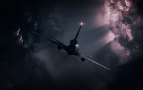 clouds, flying, airplane, lights