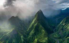 trees, mountains, valley, sun rays, landscape, French