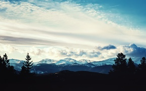 silhouette, mountains, photography, landscape, nature, clouds