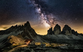 cabin, Dolomites mountains, Italy, mountains, starry night, landscape
