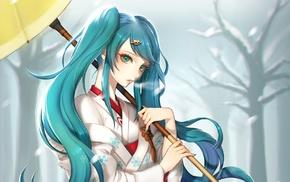 anime, kimono, Yuki Miku, long hair, Hatsune Miku, cold