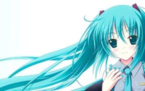 aqua eyes, anime girls, anime, Hatsune Miku, smiling, long hair