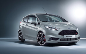 Ford Fiesta ST, spotlights, vehicle, simple background, car