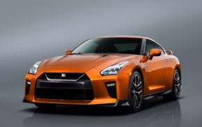 orange cars, Nissan GT, R R35, simple background, Nissan GTR, reflection