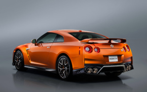 reflection, Nissan GTR, orange cars, vehicle, Nissan GT, R R35