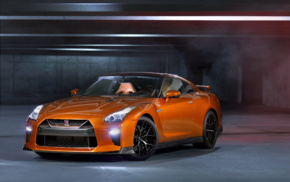 parking lot, Super Car, car, orange cars, Nissan GT, R R35