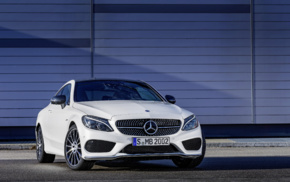 car, Mercedes, Benz C43 AMG, white cars, vehicle