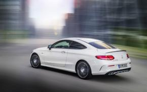 Mercedes, Benz C43 AMG, white cars, vehicle, street, motion blur