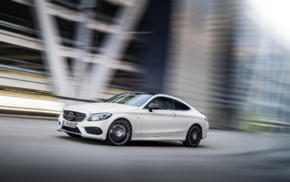 white cars, Mercedes, Benz C43 AMG, motion blur, car, street