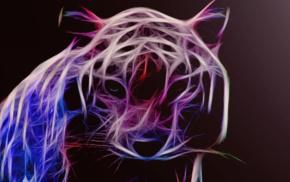 Siberian tiger, tiger, red, Fractalius, chrome
