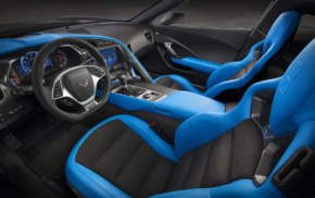 Chevrolet Corvette C7, car interior, Chevrolet Corvette Stingray, vehicle, dashboards, car