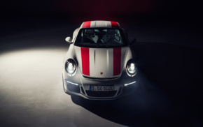car, Porsche 911R, simple background, vehicle, spotlights