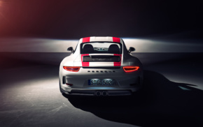 simple background, vehicle, car, Porsche 911R, spotlights