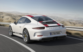 car, white cars, vehicle, Porsche 911R, road, motion blur