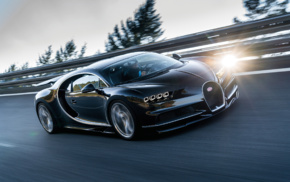 Super Car, road, car, vehicle, Bugatti Chiron, motion blur