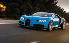 car, Bugatti Chiron, vehicle, motion blur, Super Car, road