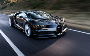 car, Bugatti Chiron, road, motion blur, Super Car, vehicle