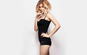 blonde, simple background, actress, Kate Mara, hands on hips
