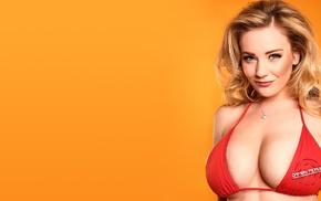 big boobs, bikini, orange background, blonde, Beth Lily, model
