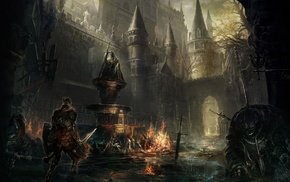 knight, castle, video games, Dark Souls, landscape, fire