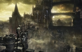 Gothic, knight, fire, midevil, landscape, Dark Souls