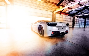 Garage, Ferrari, lights, photography, white cars, sunlight