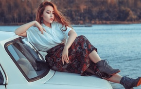 girl outdoors, car, girl with cars, model, girl, vehicle