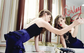 lipstick, Ashley Greene, girl, mirror, lips