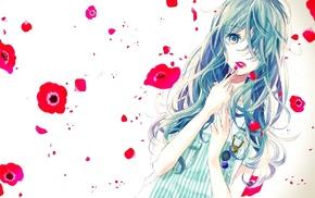 green eyes, blue eyes, flowers, anime girls, anime, aqua hair