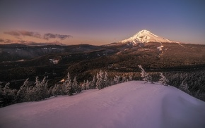 Oregon, snow, nature, forest, sunset, snowy peak