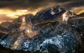 glaciers, sunset, ice, Torres del Paine, nature, Chile
