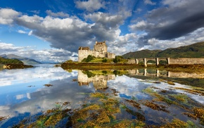 lake, Scotland, landscape, Eilean Donan, hills, reflection