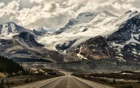 nature, snowy peak, forest, Alberta, panoramas, landscape