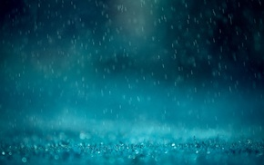 water, water drops, rain, blue
