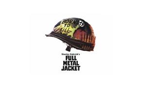helmet, Vietnam War, Stanley Kubrick, movie poster, Full Metal Jacket, peace sign