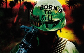 gun, helmet, Full Metal Jacket, Vietnam War, movies, artwork