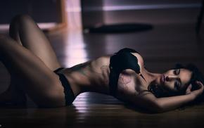 tattoo, brunette, black lingerie, arched back, girl, armpits