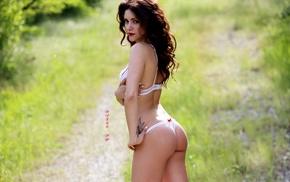 lingerie, ass, girl outdoors, tattoo, girl, looking at viewer