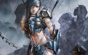 long hair, anime girls, anime, armor
