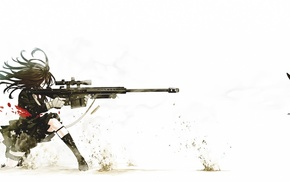 anime girls, simple background, sniper rifle, girls with guns, blood, black hair
