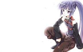 purple hair, Log Horizon, long hair, simple background, purple eyes, anime