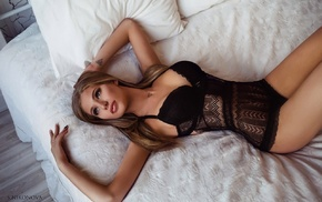 black lingerie, tattoo, blonde, looking away, body lingerie, girl