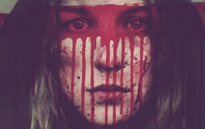 closeup, girl, looking at viewer, face, hoods, blood